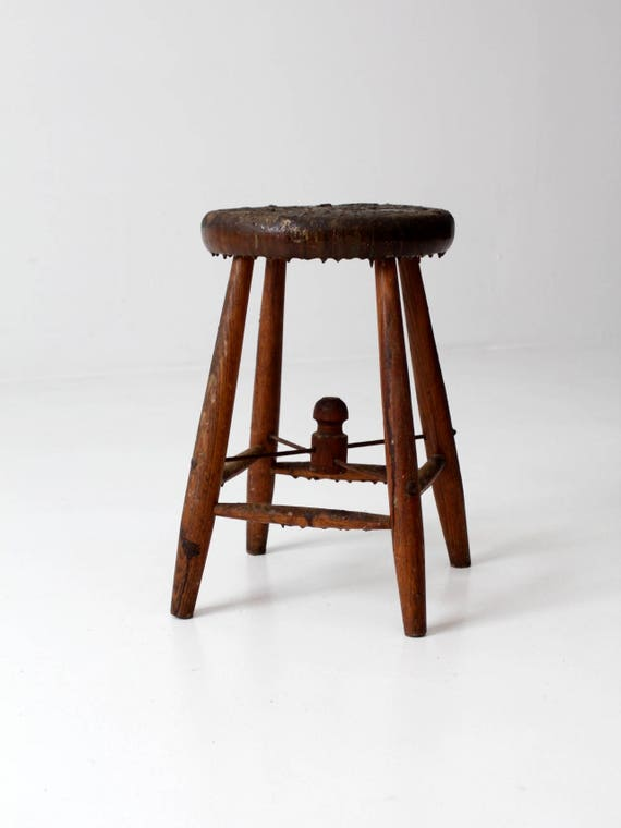 Superb Antique Primitive Wooden Stool Milking Stool With Wire Stretcher Pabps2019 Chair Design Images Pabps2019Com