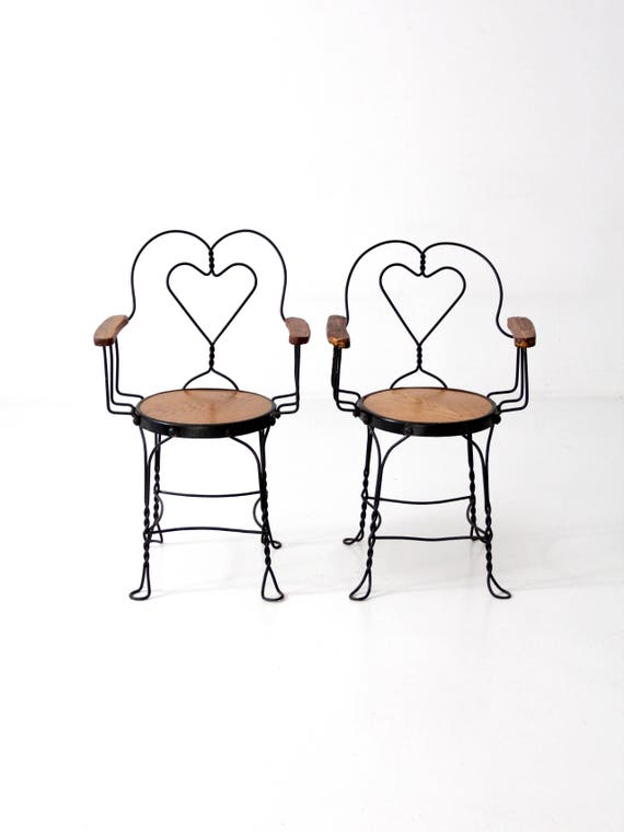 image 0 - Antique Ice Cream Parlor Chairs Heart Back Cafe Arm Chairs Etsy