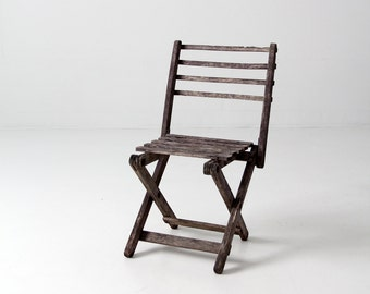 vintage children's chair, rustic wood folding chair