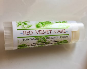 RED VELVET CAKE Lip Balm, Unsweetened Red Velvet Cake Lip Balm, Yummy and Natural Lip Balm