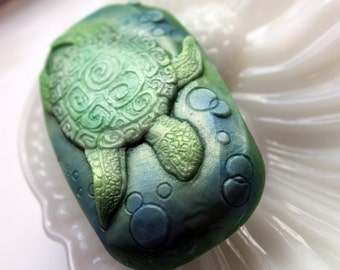 Sea Turtle Soap, Blue Green Turtle Soap, Sea Creature Soap, Beach Decor Soap, Vegetable Based Soap