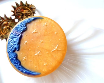 CELESTIAL MOON SOAP, Moon Soap, Love you to the Moon and Back, Celestial Scented Moon, Blue and Gold, Handmade Moon Soap