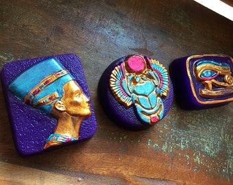 EGYPTIAN SOAP Set of 3, Nefertiti Soap, Scarab Soap, Eye of Horus Soap, Ancient Egyptian Soaps, Symbolic Ancient Art Soap
