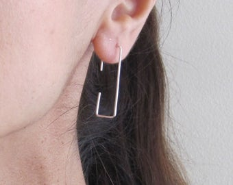 Rectangle hoops in yellow gold, rose gold filled or solid sterling silver wire, geometric earrings