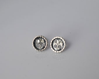 Pair of BUTTONS sterling silver stud earrings, womens, girls earrings