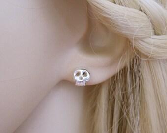 SKULL sterling silver stud earrings, Goth earrings