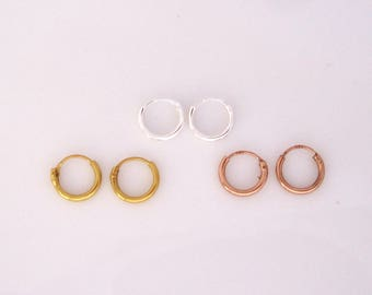 A pair of tiny 8mm yellow gold, rose gold plated sterling silver or sterling silver hoops sleeper earrings