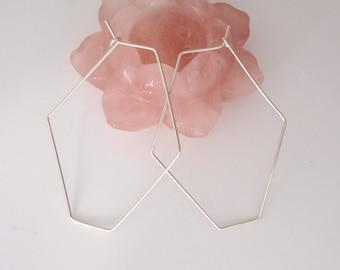 Big HEXAGON sterling silver, yellow or rose gold filled wire hoop earrings, modern, geometric earrings