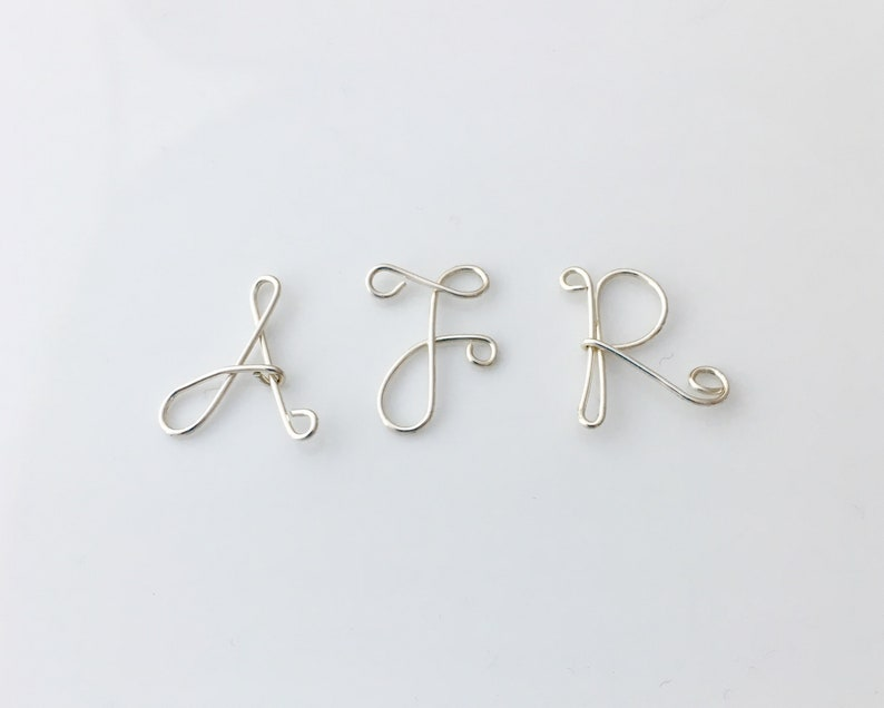 choose your initial personalized necklace Monogram Letter A to Z sterling silver wire charm with necklace