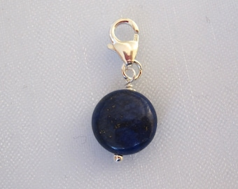 925 Sterling silver clip on charm, Chakra Healing blue LAPIS LAZULI bead, fits link bracelet