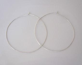 """Big 2.5"""" sterling silver square wire hoop earrings, modern hoops earrings"""