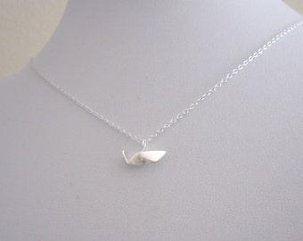 Origami small 3d BOAT sterling silver charm necklace