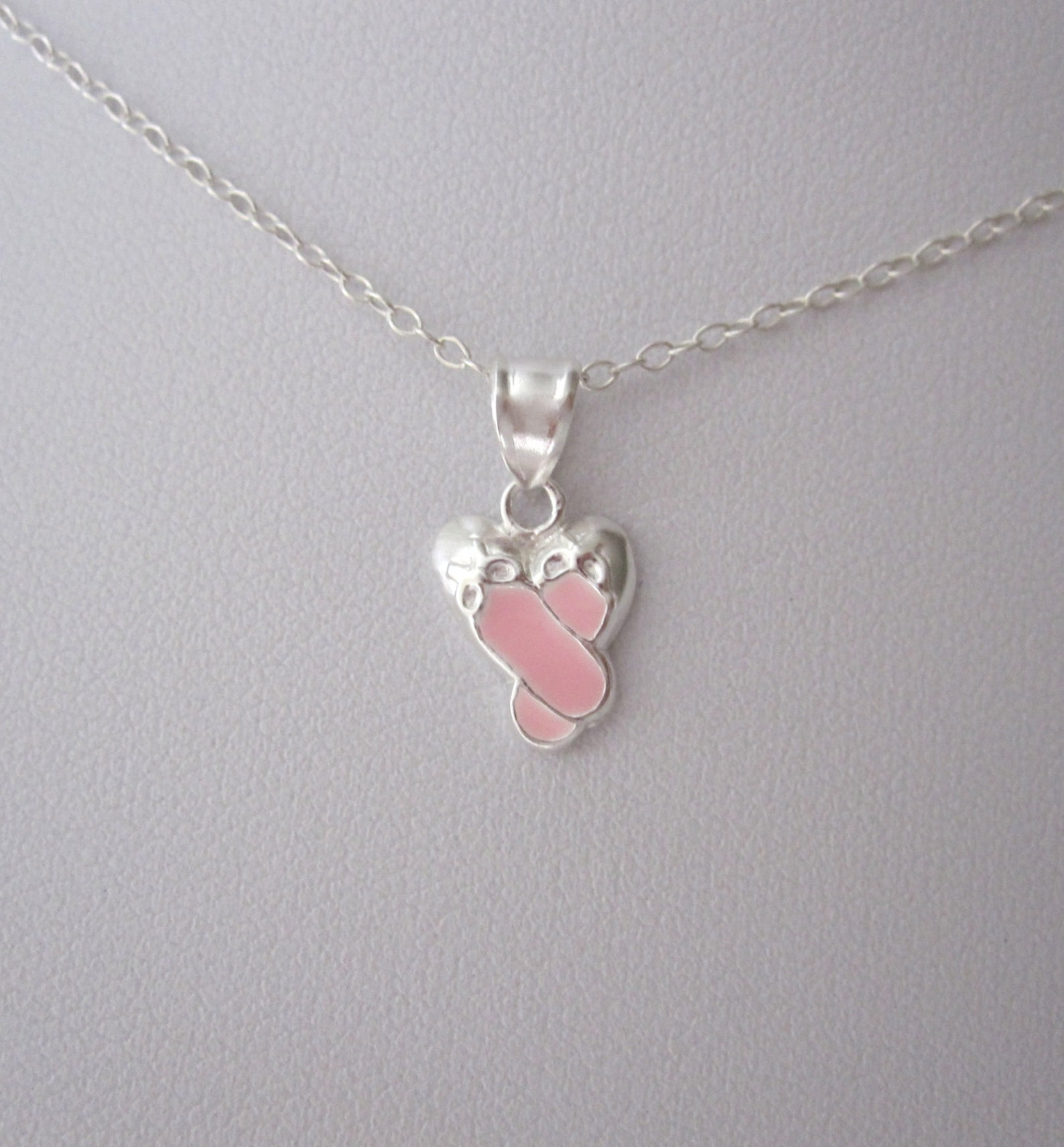 925 sterling silver pink enamel ballerina ballet shoes slippers pendant with necklace chain