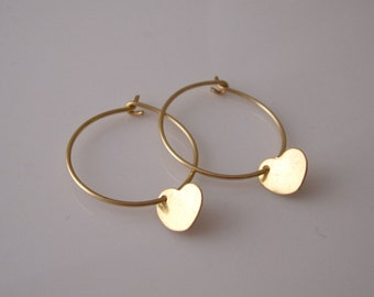 14K yellow gold filled HEART charms wire hoop earrings