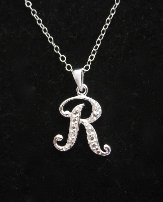 925 Sterling Silver Initial R Charm and Pendant