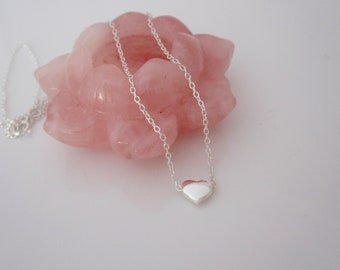 Sweet little floating HEART sterling silver necklace, delicate love necklace