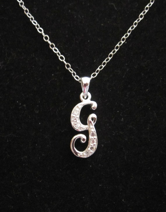Sterling Silver CZ Initial G Pendant