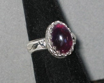 Amethyst, Rich Purple, in Sterling Silver Ring, Size 6 1/2