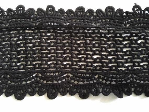 """Black Cotton Venice Double Scalloped Lace Trim 5.5/"""""""