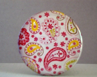 Pocket Mirror Pink and Yellow Paisley 2 1/4 inch
