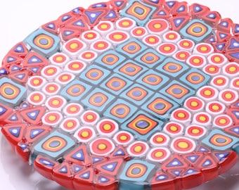 Aztec, tile plate, blown glass.