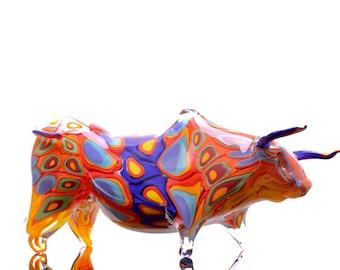 Charging Bull, blown glass sculpture