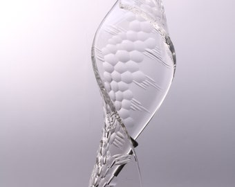 Clear twist, blown glass, carved