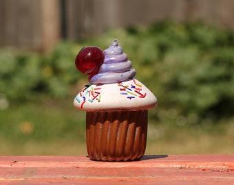 SALE! cupcake, blown glass