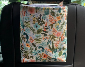 Two sizes//Waterproof, reusable Rifle paper floral car trash bag/Floral Car trash bin/Floral Car trash holder/accessory holder.