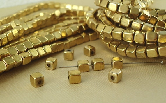 2mm 3mm 4mm 5mm 6mm Solid Brass Cube Metal Gold Loose Spacer Beads lots DIY