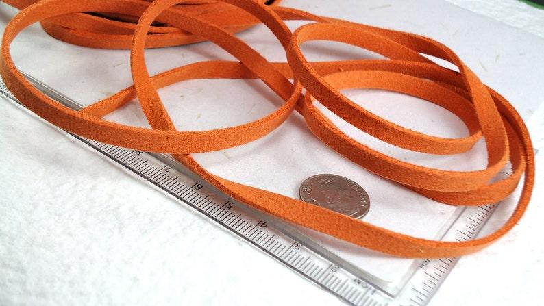 6yds Faux Suede leather Micro Fiber Orange Jewelry Cord Rust Orange Lace 5mm x 1.5mm