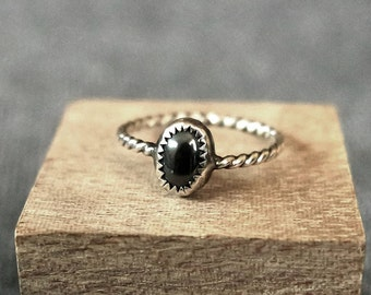 Hematite Sterling Silver Stacking Ring