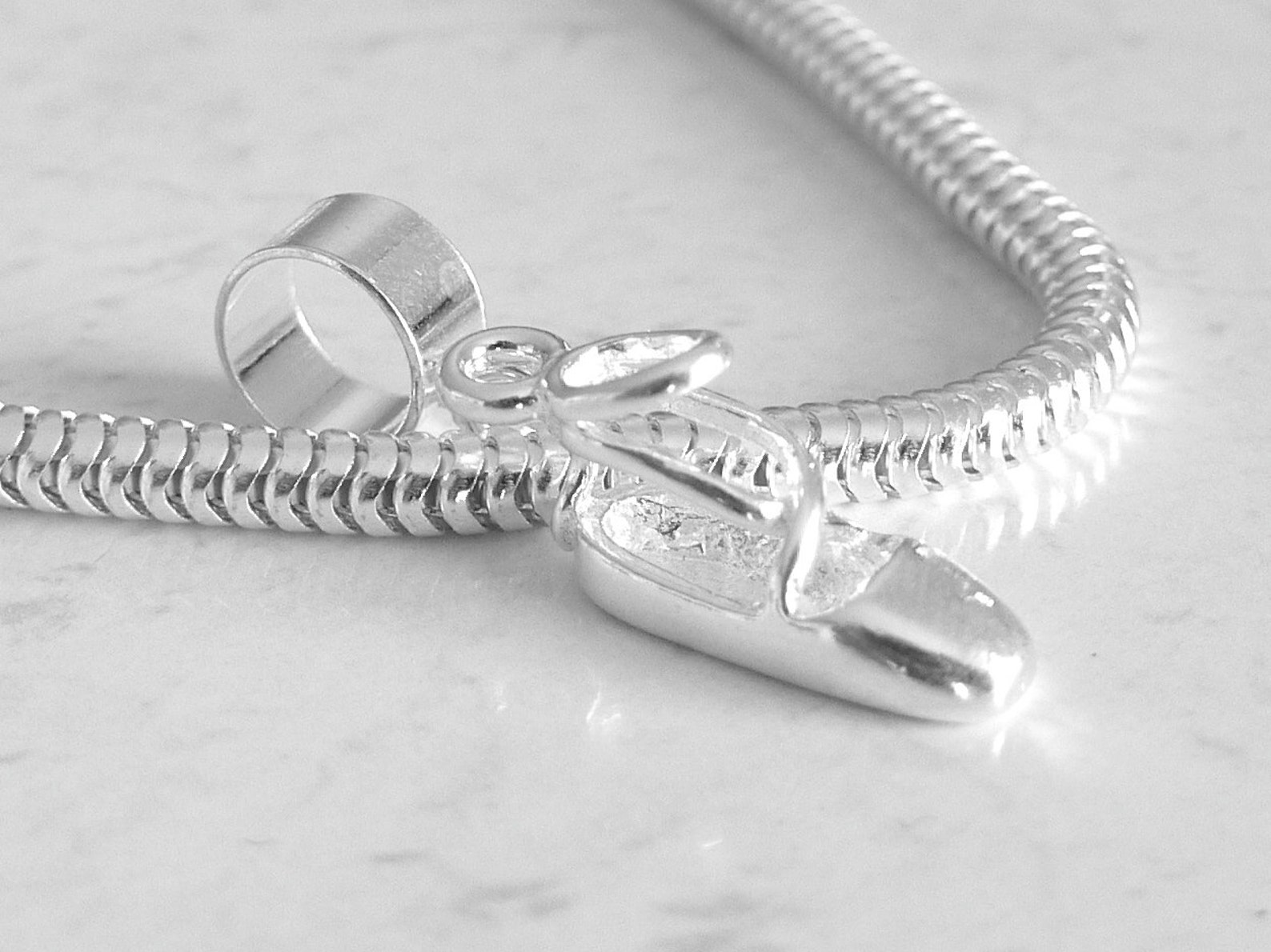 ballet shoe slipper sterling silver charm fits all slide on bracelets