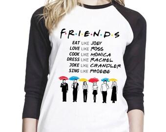 9573e5dd Friends TV Show Umbrella Shirt Vintage Best friend Women Teen Girl Baseball Shirt  T-Shirt Tee #ZWBSUB954
