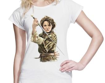 6a5257e92 Arya Stark with Needle Sword - A Girl Has No Name - House Stark Winterfell  Faceless Women Teen Girl Tee Shirt T-Shirt #IZWWS74