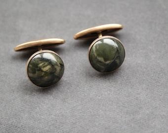 Antique Sterling Silver Natural Green Jasper Stylish Cufflinks / Vintage