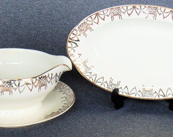 Pope Gosser USA China Attached Gravy Boat & Plate And Oval Serving Dish Very Rare Pattern