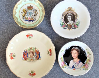 4 Queen Elizabeth Commemorative Plates Coronation Of Queen, 2 Silver Jubilee, And W/Prince Phillip: Opening St Lawrence Seaway COLLECTIBLES