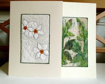Botanical illustrations embroidery mounted on acid free Fabriano paper