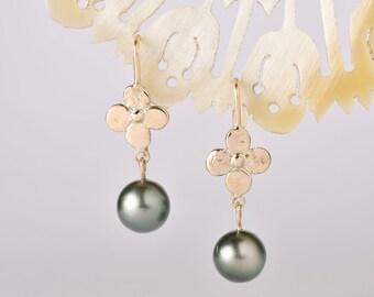 yellow gold and tahitian black pearl st helena earrings