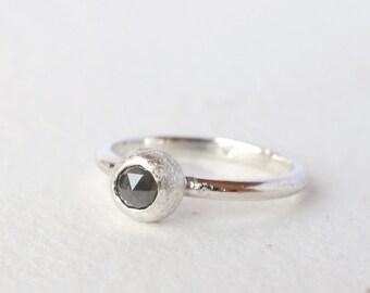 sterling silver seed pod 4mm rose cut grey diamond ring
