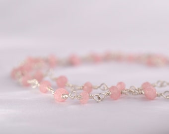 Pink opal gemstone and sterling silver handmade chain