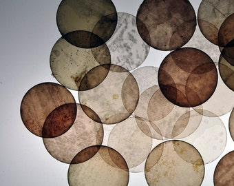 Natural Mica, Assorted Circles measuring approx. 1 1/2in