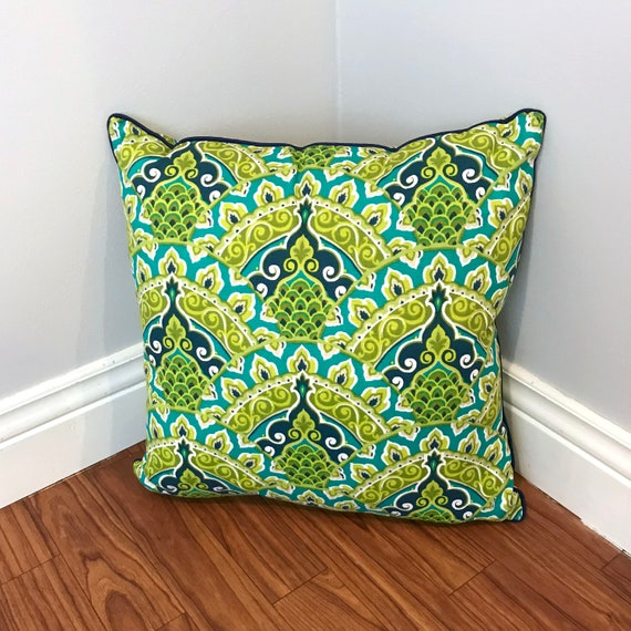 Lime and Teal Ornate Print Pillow Cover