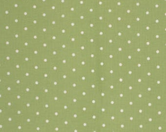 CLEARANCE Polka Dot Fabric- On Sale, Green White, Barefoot Roses, Tanya Whelan, Legacy Dot
