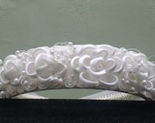 FLORAL TIARA: Bridal headdress- Wedding Headband- Bridal  Accessories- Ribbon Flowers-Lace Flowers-Pearl Details