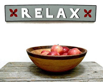"""Relax Sign, Hand Made Hand Painted on Board in Gray White Red & Black, 26"""" x 4.5"""", Rustic Cottage Wall Decor"""