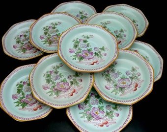 Adams Calyx Ware Saucers, Set of 12 Vintage English Ironstone with Pink Floral Design, Metx Pattern