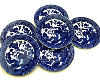 Flow Blue Willow Bread and Butter or Dessert Plates, Vintage Set of 6 Transfer Ware Made in Occupied Japan