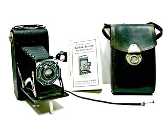 Kodak Junior Six-20 Series II Folding Bellows Camera with Case, Cable Release & Instruction Book, Vintage Photography